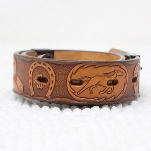 SALE! 3-D Leather Belt With Snap Buckle Horses 26